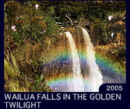 WAILUA FALLS IN THE GOLDEN TWILIGHT